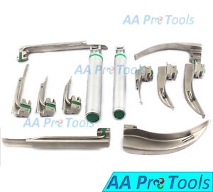 Aa Pro Fiber Optic Mac Miller Laryngoscope Blade With 2 Handle Intubation Ent