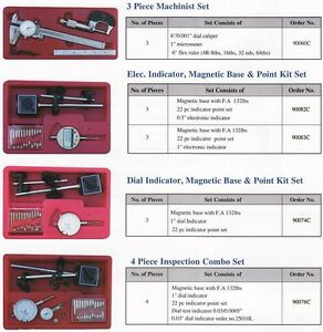 All New 3 Pc Inspection Combo Set Magnetic Base Electronic Indicator Set 90082c