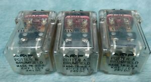 Lot Of 3 Amf Potter Brumfield Krp11dy 24v Dc Relay 8 Pin Base Nos D538