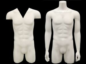 Adult Male Matte White Invisible Ghost Mannequin 3 4 Body Torso With Base