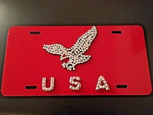 3d Custom Hand Made Usa With Crystal On Red License Plate Free Shipping