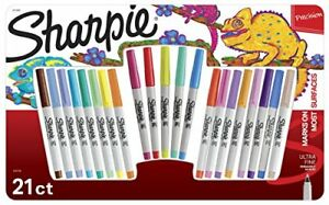 Sharpie Permanent Markers Combo Pack Assorted Colors Ultra Fine Point 21 Coun