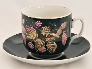 Mustache Cup Saucer Porcelain Dp Pon 1875 Germany Blackberry 6 5 Rococo