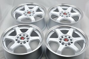 17 White Rims Wheels Tires Sunfire Civic Prelude Tiburon Legacy Cl 5x100 5x114 3