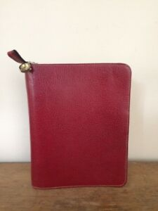 Red Franklin Covey Pebbled Leather Unstructured Planner Binder Classic 7 Rings