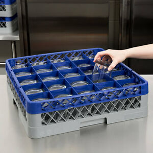 2 Pack Commercial Dishwasher Machine 25 Cup Glass Tray Rack 1 Extender Automatic