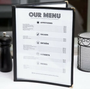 100 Pack 8 1 2 X 11 Black Vinyl Two Page Pocket Clear Menu Cover Restaurant 2