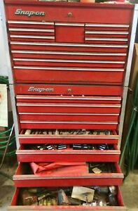 Vintage Snap On Tool Box W Tools Keys Socket Sets Wrenches Pneumatic More