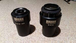 Two Zeiss Microscope 10x 25 Eyepieces 464003 And 464030 9901 For 30mm Tube