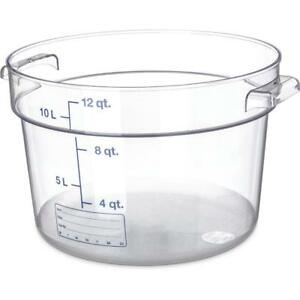 Carlisle Round Food Storage Container Box 12 Qt Clear 1076707 Case Of 6