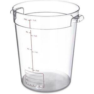 Carlisle Round Food Storage Container Box 8 Qt Clear 1076607 Case Of 12