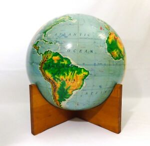 Aj Nystrom 16 Vint Pictorial Relief Library School Globe On Concave Wood Base