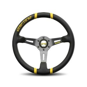 Momo Racing Drifting 350mm Yellow Stitching Leather