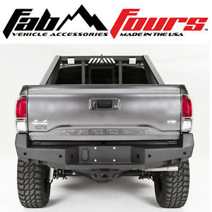 Fab Fours Premium Hd Matte Black Rear Bumper For 2016 2019 Toyota Tacoma