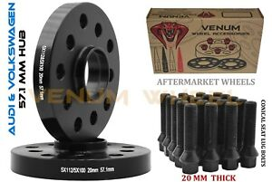 Pair Of 20mm Audi Volkswagen 5x100 5x112 Wheel Spacers Conical Bolts 14x1 5