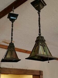 Pair Antique Arts Craft Pendant Lights Slag Glass Mission Style Some Damage
