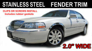 03 10 Town Car Chrome Polished Stainless Steel 4 Pc Fender Trim Set For Lincoln