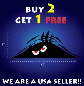 Peeking Monster Scary Red Eyes Vinyl Sticker Decal Car Truck Bumper Auto Funny