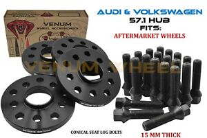 4pc Audi Volkswagen 15mm Wheel Spacer Kit 5x100 5x112 57 1mm Bore Cone Bolts