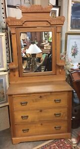 Victorian Eastlake Antique Chest Or Dresser With Mirror