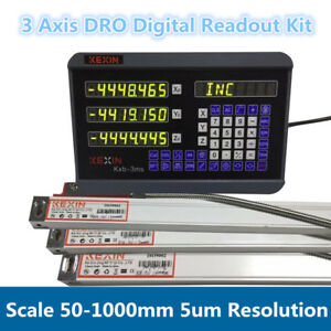 3axis Dro Kit Digital Readout Linear Scale 50 1000mm 5um 5micron Sensor Encoder