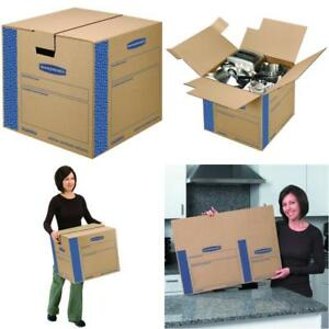 8 Pack Moving Boxes Tape free Fast fold Assembly Medium 18 X 18 X 16 Inches