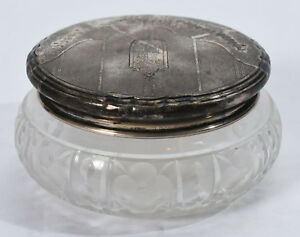 Small Old Art Deco Floral Garland Sterling Cut Crystal Vanity Powder Jar