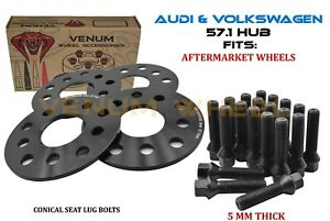 5mm Audi Volkswagen Hubcentric Wheel Spacer Kit Conical Bolts Fits A4 Gti Golf