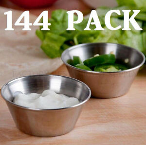 144 Pack 1 5 Oz Stainless Steel Round Silver Ramekin Sauce Condiment Portion Cup