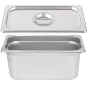 4 Pack 1 3 Size Stainless Steel W Lid Steam Buffet Prep Table Food Pan 6 Deep