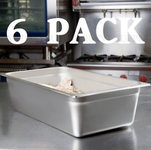 6 Pack Full Size 6 Deep Stainless Steel Steam Prep Table Food Pan Nsf