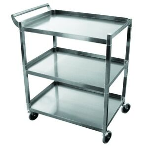 Hd Utility Serving Bus Cart Stainless Steel 3 Shelf New Knockdown
