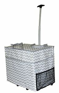 Wide Load Smart Cart Grey Chevron Rolling Multipurpose Collapsible Basket Cart