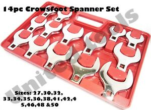 14pc 1 2 Dr Jumbo Crows Foot Metric Spanners Set Open End Tray 27mm 50mm