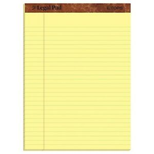 Tops The Legal Pad Writing Pads 8 1 2 X 11 3 4 Canary Paper Legal Rule 50