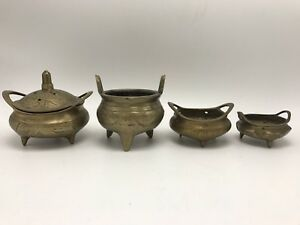 A Group Of 4 Chinese Vintage Bronze Censer Burners