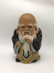 Antique 19th Early 20th C Japanese Porcelain Kutani Figure Old Wise Man Statue
