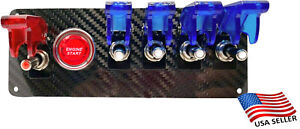 12v Switch Panel Real Carbon Fiber Plate Start 4 Blue 1 Red Led Toggle Switch