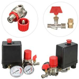 Air Compressor Pressure Valve Switch Manifold Relief Regulator Gauges 240v 15a