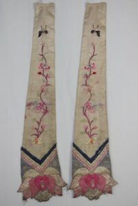 Old Chinese Decorative Hanging Hand Embroidery Pair 2pieces Flower Butterfly