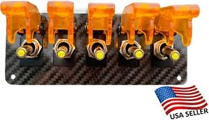 5 Hole Real Carbon Fiber Panel W 5 Led Toggle Switches And Covers Orange