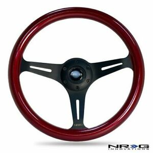 Nrg Steering Wheel Red Classic Wood Grain 3 Spoke Matte Black Center 350mm St 01