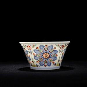 China Old Porcelain Qing Qianlong Blue White Doucai Flower Horse Hoof Bowl
