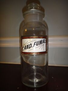 Antique Apothecary Jar Cand Fumal Candy Cigarettes Label Under Glass Drug Store