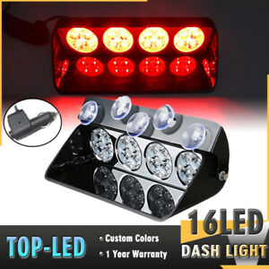 16 Led Car Truck Windshield Emergency Warning Dash Flash Strobe Light 12v Red