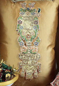 Antique French Applique Gold Metallic Silk Embroidery Baroque Flowers