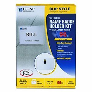 C line 95596 Name Badge Kits Top Load 4 X 3 Clear Clip Style box Of 96