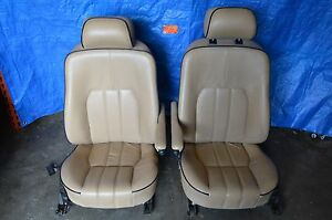 03 05 Land Range Rover Hse L322 Front Seat Seats Left Right Pair Tan Leather
