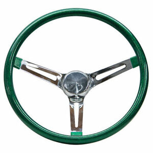 Mooneyes Green Metalflake Steering Wheel 13 5 With Slots In Spokes Rat Fink