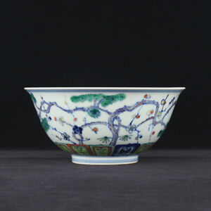 China Antique Porcelain Ming Xuande Blue White Doucai Pine Bamboo Plum Bowl